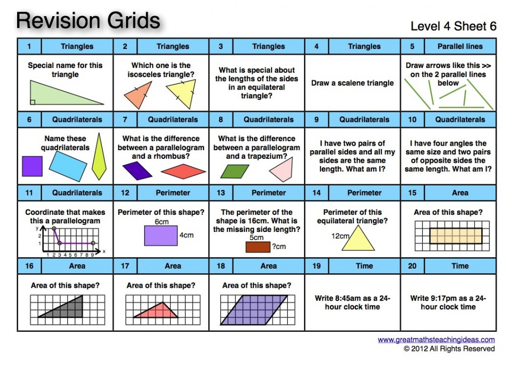 revision : Great Maths Teaching Ideas